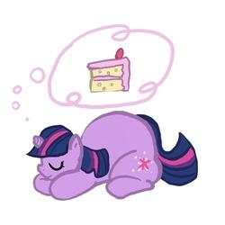Size: 600x600 | Tagged: safe, artist:envy, twilight sparkle, pony, unicorn, cake, fat, female, mare, prone, simple background, sleeping, solo, thought bubble, twilard sparkle, white background
