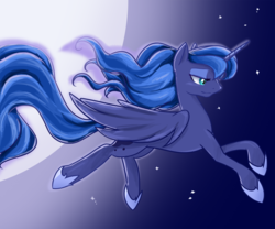 Size: 1200x1000 | Tagged: alicorn, artist:u1fric, female, flying, mare, missing accessory, moon, night, pony, princess luna, safe, solo