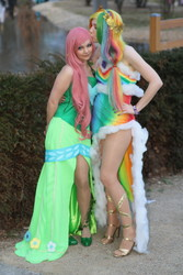 Size: 1067x1600 | Tagged: artist:straychild77, clothes, cosplay, duo, duo female, female, fluttershy, human, irl, irl human, pantyhose, photo, rainbow dash, safe