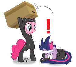 Size: 680x600 | Tagged: safe, artist:empty-10, pinkie pie, twilight sparkle, earth pony, pony, unicorn, bipedal, box, cardboard box, catsuit, caught, clothes, costume, crossover, duo, duo female, exclamation point, eyepatch, female, future twilight, konami, mare, metal gear, metal gear solid, prone, solid sparkle