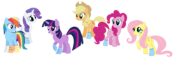 Size: 2568x866 | Tagged: safe, artist:cloudwatcherpony, applejack, fluttershy, pinkie pie, rainbow dash, rarity, twilight sparkle, earth pony, pegasus, pony, unicorn, appledash, clothes, female, flutterdash, lesbian, mare, pinkiedash, rainbow dash gets all the mares, raridash, shipping, simple background, socks, transparent background, twixie
