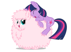 Size: 550x400 | Tagged: safe, artist:mixermike622, twilight sparkle, oc, oc:fluffle puff, earth pony, original species, pony, unicorn, cuddling, cute, duo, duo female, eyes closed, female, happy, hug, mare, nuzzling, open mouth, simple background, smiling, snuggling, transparent background, vector