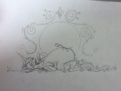 Size: 960x720 | Tagged: safe, artist:envy, fleur-de-lis, pony, unicorn, chocolate, fat, female, fleur dis lourde, mare, monochrome, on back, solo