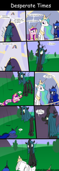 Size: 800x2338 | Tagged: safe, artist:loceri, princess cadance, princess celestia, princess luna, queen chrysalis, alicorn, changeling, changeling queen, pony, alicorn triarchy, balcony, betrayal, canterlot, comic, coward, crown, defenestration, dialogue, falling, female, mare, seems legit, siege, slice of life, surrender, toilet, uselesstia