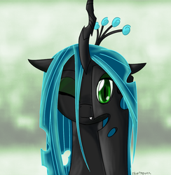 Size: 1172x1200 | Tagged: abstract background, artist:thattagen, changeling, changeling queen, cheeselegs, cute, fangs, female, i see what you did there, looking at you, one eye closed, peekaboo, queen chrysalis, safe, signature, smiling, solo, wink