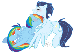 Size: 900x649 | Tagged: artist:chib-bee, blushing, eyes closed, female, male, mare, neck nuzzle, nuzzling, pegasus, pony, rainbow dash, safe, shipping, simple background, smiling, soarin', soarindash, stallion, straight, transparent background