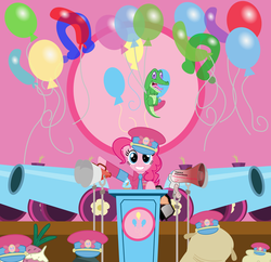 Size: 7245x7015 | Tagged: safe, artist:mostbodacious, gummy, madame leflour, mr. turnip, pinkie pie, rocky, sir lintsalot, earth pony, pony, absurd resolution, balloon, clothes, cupcake, dictator, female, food, hat, implied cupcakes, implied rainbow dash, mare, megaphone, party cannon, uniform