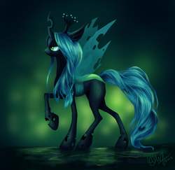 Size: 1233x1199 | Tagged: artist:entadeath, changeling, changeling queen, female, profile, queen chrysalis, raised hoof, safe, solo