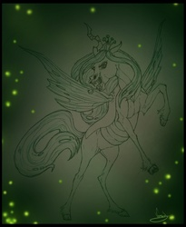 Size: 867x1056 | Tagged: safe, artist:vanycat, queen chrysalis, changeling, changeling queen, female, realistic, rearing, solo