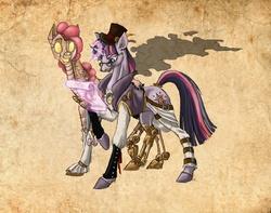 Size: 2079x1637 | Tagged: safe, artist:chickenwhite, pinkie pie, twilight sparkle, cyborg, pony, robot, robot pony, unicorn, alternate universe, amputee, brown background, clothes, duo, female, glasses, hat, magic, mare, mechanical legs, prosthetic leg, prosthetic limb, prosthetics, realistic horse legs, simple background, steampunk, tail wrap, telekinesis, top hat, unicorn twilight
