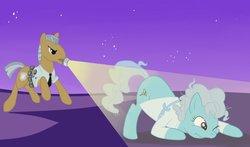 Size: 1280x753   Tagged: safe, artist:amaraburrger, night watch, screw loose, vigilance, earth pony, pony, duo, female, flashlight (object), male, mare, mouth hold, night, stallion