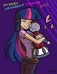 Size: 1041x1347 | Tagged: abstract background, artist:ashesg, artist:megasweet, crossover, female, heart, hug, human, humanized, mystery science theater 3000, safe, smiling, tom servo, twilight sparkle