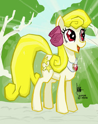Size: 600x758 | Tagged: safe, artist:theartrix, oc, oc only, oc:yellowstar, earth pony, pony, fanfic:the star in yellow, female, mare, perfection, solo