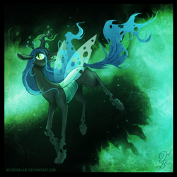 Size: 900x900 | Tagged: artist:thenecrobalam, changeling, changeling queen, dead source, female, fire, open mouth, queen chrysalis, raised hoof, running, safe, signature, smiling, solo, walking