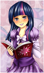 Size: 330x545 | Tagged: safe, artist:nataliadsw, twilight sparkle, human, abstract background, book, clothes, female, humanized, skirt, solo