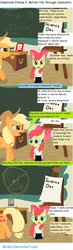 Size: 900x3090   Tagged: safe, artist:birdco, apple bloom, applejack, earth pony, pony, chalkboard, classroom follies, clothes, comic, duo, duo female, female, filly, goggles, lab coat, mare
