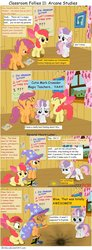 Size: 900x2456 | Tagged: safe, artist:birdco, apple bloom, scootaloo, sweetie belle, earth pony, pegasus, pony, unicorn, classroom follies, clubhouse, comic, crusaders clubhouse, cutie mark crusaders, female, filly, portal, reference, trixie's cape, trixie's hat