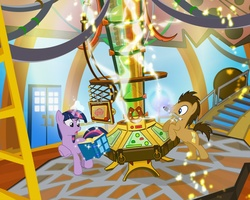 Size: 900x720 | Tagged: safe, artist:pixelkitties, doctor whooves, time turner, twilight sparkle, earth pony, pony, unicorn, book, doctor who, duo, female, magic, male, mare, mouth hold, my little pony logo, science, sonic screwdriver, stallion, tardis, telekinesis