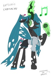 Size: 715x1061 | Tagged: alternate hairstyle, artist:bangayo, artist:yosegaman, changeling, changeling queen, clothes, cute, cutealis, female, hatsune miku, microphone, queen chrysalis, raised hoof, safe, shirt, simple background, solo, vocaloid, white background