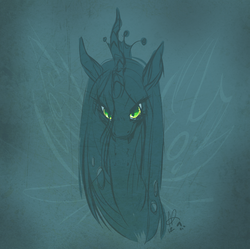 Size: 869x864 | Tagged: dead source, safe, artist:clovercoin, queen chrysalis, changeling, changeling queen, bust, fangs, female, kitchen eyes, limited palette, looking at you, sketch, smiling, solo