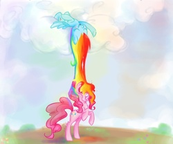 Size: 1280x1067   Tagged: safe, artist:kelsea-chan, pinkie pie, rainbow dash, earth pony, pegasus, pony, cloud, cloudy, duo, female, mare, on back, one eye closed, rainbow, rainbow waterfall, rearing, shower, sleeping, smiling, surreal, waterfall, wink