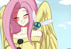 Size: 1600x1100   Tagged: safe, artist:ninja-8004, fluttershy, human, parasprite, swarm of the century, blushing, clothes, cute, eyes closed, female, humanized, shyabetes, smiling, solo, sweater, sweatershy, winged humanization