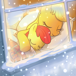 Size: 1000x1000 | Tagged: safe, artist:madmax, apple bloom, applejack, earth pony, pony, apple sisters, bed, cuddling, cute, duo, duo female, female, filly, foal, mare, pillow, siblings, sisters, sleeping, smiling, snow, snowfall, snuggling, sweet dreams fuel, window