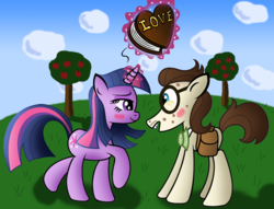 Size: 791x605 | Tagged: safe, artist:ziemniax, gizmo, twilight sparkle, earth pony, pony, unicorn, blushing, eye contact, female, gizmolight, looking at each other, male, mare, nerd, shipping, stallion