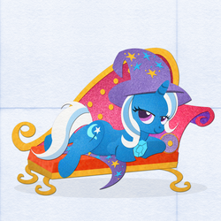 Size: 3000x3000 | Tagged: safe, artist:pixelkitties, trixie, pony, unicorn, cutie mark, fainting couch, felt, female, hat, high res, hooves, horn, lidded eyes, lineless, looking at you, looking back, lying down, mare, prone, smiling, solo, sploot, trixie's cape, trixie's hat