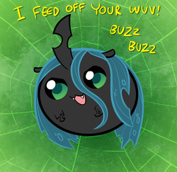 Size: 1200x1164 | Tagged: :3, artist:willdrawforfood1, blob, changeling, changeling queen, chubbie, cute, cutealis, dialogue, fangs, female, frown, looking at you, open mouth, queen chrysalis, safe, smiling, solo