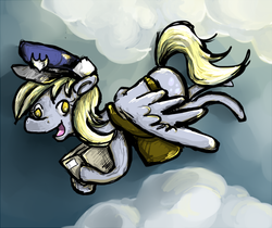 Size: 714x600 | Tagged: safe, artist:hayhedgehoghay, derpy hooves, pegasus, pony, colored pupils, female, flying, hat, mail, mailbag, mare, package, solo