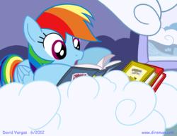 Size: 825x638 | Tagged: safe, artist:latecustomer, rainbow dash, pegasus, pony, book, cloud, female, mare, open mouth, prone, reading, solo
