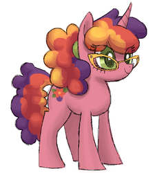 Size: 692x760 | Tagged: safe, artist:needsmoarg4, beachberry, pony, unicorn, g3, colored pupils, female, g3 to g4, generation leap, glasses, mare, simple background, solo, white background