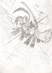 Size: 588x815 | Tagged: artist:frist44, clothes, crossover, female, mare, monochrome, no more heroes, pony, safe, shinobu, socks, solo, sword, twilight sparkle, unicorn, weapon