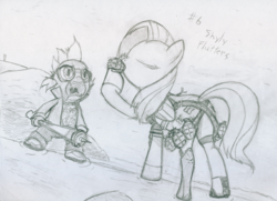 Size: 801x580 | Tagged: artist:frist44, crossover, dragon, duo, female, fluttershy, grenade, holly summers, male, mare, monochrome, no more heroes, pegasus, pony, safe, spike, travis touchdown, weapon