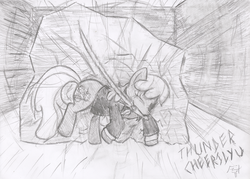 Size: 817x586 | Tagged: artist:frist44, cheerilee, clothes, crossover, earth pony, female, mare, monochrome, mouth hold, no more heroes, one eye closed, pony, safe, solo, sword, thunder ryu, weapon