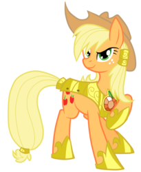 Size: 4105x5000   Tagged: safe, artist:equestria-prevails, artist:jennieoo, applejack, earth pony, pony, absurd resolution, alternate hairstyle, armor, element of honesty, female, hair tie, looking at you, mare, raised hoof, simple background, smiling, solo, transparent background, vector