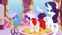 Size: 1719x968 | Tagged: safe, artist:immortaltanuki, rarity, twist, earth pony, pony, unicorn, carousel boutique, duo, duo female, female, filly, glasses, hat, makeover, mare, mirror, needle