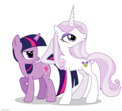 Size: 2200x2000 | Tagged: safe, artist:larsurus, fleur-de-lis, twilight sparkle, pony, unicorn, duo, duo female, female, high res, mare, part of a series, part of a set, raised hoof, simple background, transparent background, vector