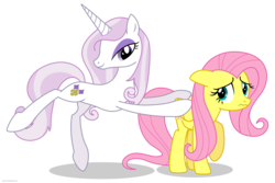 Size: 3000x2000 | Tagged: safe, artist:larsurus, fleur-de-lis, fluttershy, pegasus, pony, unicorn, duo, duo female, female, floppy ears, high res, mare, nervous, part of a series, part of a set, pose, raised hoof, simple background, smiling, transparent background, vector, wavy mouth