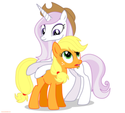 Size: 2200x2000 | Tagged: safe, artist:larsurus, applejack, fleur-de-lis, earth pony, pony, unicorn, accessory swap, duo, duo female, female, high res, mare, part of a series, part of a set, simple background, solo, transparent background, vector
