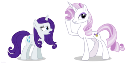 Size: 4000x2000 | Tagged: safe, artist:larsurus, fleur-de-lis, rarity, pony, unicorn, annoyed, duo, duo female, female, mane swap, mare, part of a series, part of a set, raised hoof, simple background, transparent background, vector