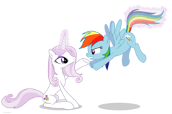 Size: 4221x2793 | Tagged: annoyed, artist:larsurus, duo, duo female, female, fleur-de-lis, glowing horn, levitation, magic, mare, part of a series, part of a set, pegasus, pony, pouting, rainbow dash, safe, simple background, sitting, tail, tail pull, telekinesis, transparent background, unicorn, vector