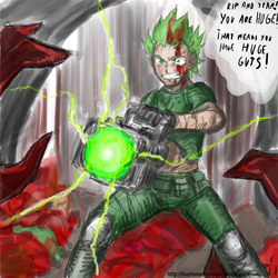 Size: 1280x1280 | Tagged: artist:johnjoseco, artist:michos, bfg, bfg9000, colored, color edit, doom, doom comic, doomguy, edit, human, humanized, male, parody, rip and tear, safe, solo, spike
