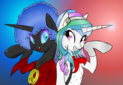 Size: 1275x886 | Tagged: 70s, afro, alicorn, alternate hairstyle, artist:zev, clothes, costume, duo, duo female, earring, female, gloves, gradient background, mare, nightmare moon, peace sign, piercing, pony, princess, princess celestia, safe