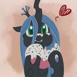 Size: 700x700 | Tagged: artist:ecmajor, changeling, changeling queen, cute, cutealis, eating, female, gradient background, heart, icing, puffy cheeks, queen chrysalis, safe, solo