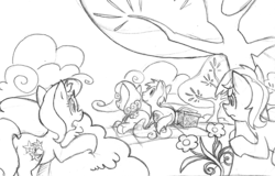 Size: 1000x638 | Tagged: safe, artist:elosande, daisy, flower wishes, goldengrape, lily, lily valley, roseluck, sir colton vines iii, earth pony, pony, basket, daisygrape, female, flower trio, male, mare, monochrome, picnic basket, picnic blanket, prone, shipping, spying, stallion, straight, tree