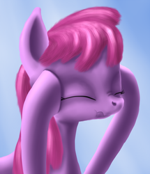 Size: 800x931 | Tagged: artist:arrkhal, berry punch, berryshine, earth pony, eyes closed, female, gradient background, hangover, mare, pony, safe, scrunchy face, solo