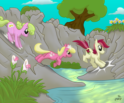 Size: 1600x1328 | Tagged: safe, artist:elosande, daisy, flower wishes, lily, lily valley, roseluck, earth pony, pony, colored, female, flower, flower trio, jumping, mare, running, smiling