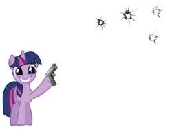 Size: 2019x1517   Tagged: artist needed, safe, twilight sparkle, pony, unicorn, bullet hole, female, fourth wall, gun, mare, simple background, smiling, solo, transparent background, weapon